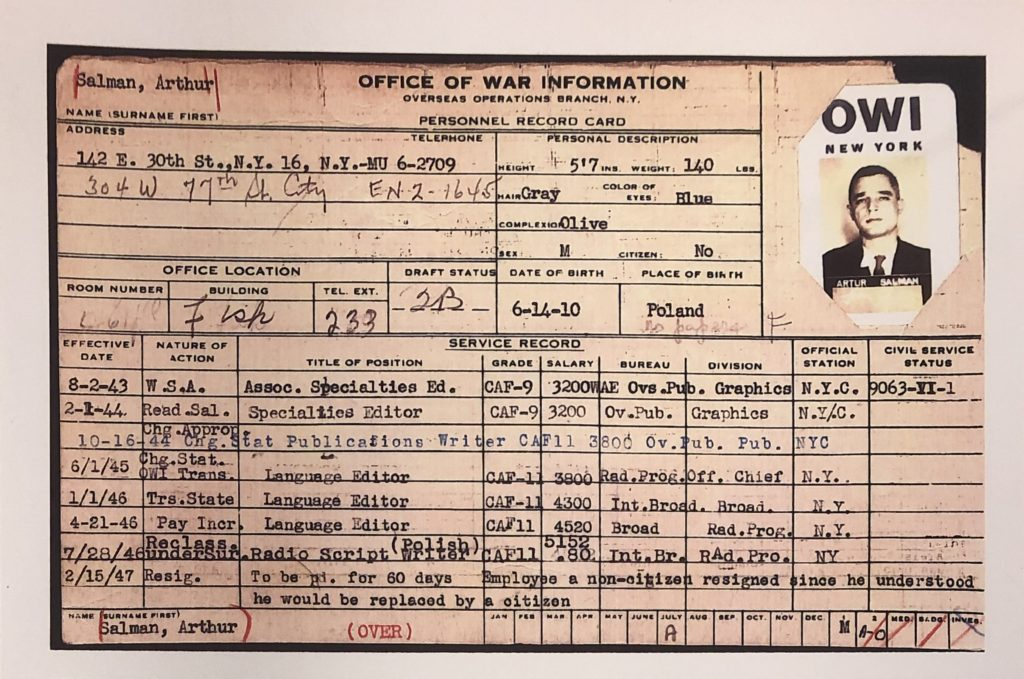 Office of War Information (OWI) personnel record card for Artur Salman, aka Stefan Arski, who was employed by OWI from August 2, 1943 and continued his employment as language editor and radio script writer (Polish) for the Voice of America (VOA) in the U.S. State Department until February 15, 1947.